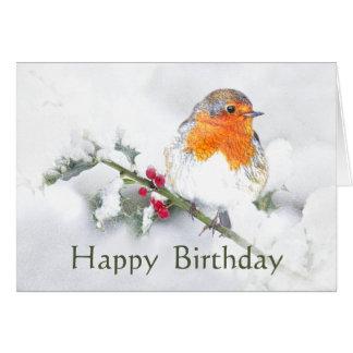 Happy Birthday English Robin Pretty Garden Bird Card