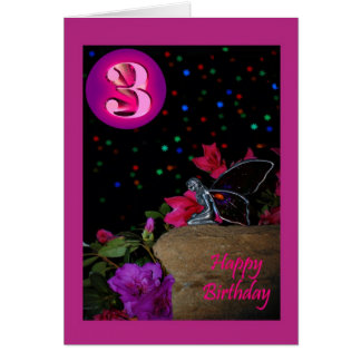 Happy Birthday fairy faerie 3 3rd three third Card