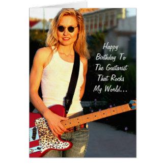 Happy Birthday Female Guitarist Rocks Card