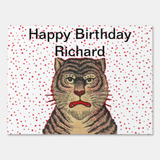 Happy Birthday Fierce Striped Tiger Red Dots Sign