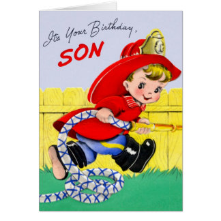 Happy Birthday - Firefighter Son Greeting Cards