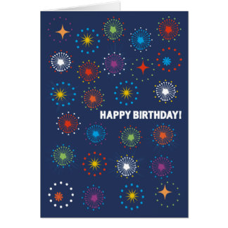 Happy Birthday Fireworks Greeting Card