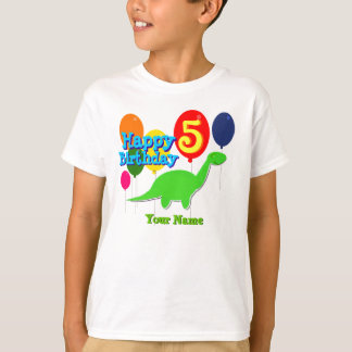 Happy Birthday Five Years Balloons Dino T-Shirt