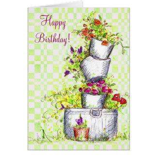 Happy Birthday Flower Bucket Cottage Garden Art Card