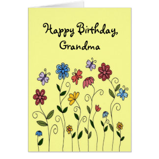 Happy Birthday flowers & butterflies card