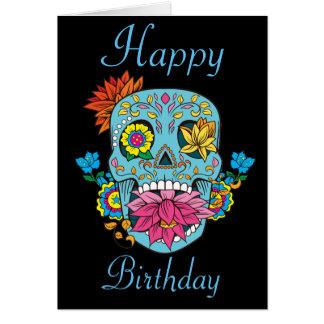 Happy Birthday Flowers Mexican Tattoo Sugar Skull Card