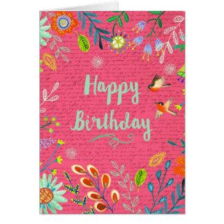 Happy Birthday Flowers | Pink | Greeting Card