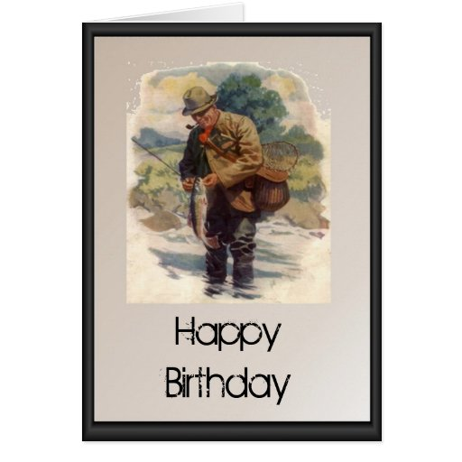Happy Birthday - Fly fishing in the river Card