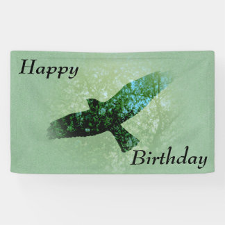 Happy Birthday Flying Black Crow Trees Green Banner
