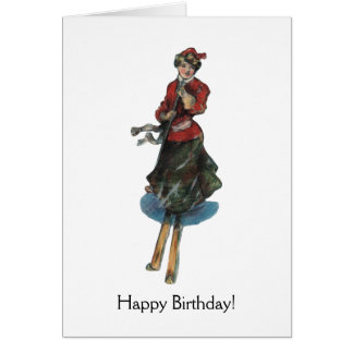 Happy Birthday for a Woman Skier Card