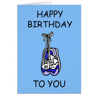 Happy Birthday for male runner, blue trainers. Card