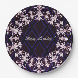 Happy-Birthday-French-Elegance-Stylish-Harlequin Paper Plate