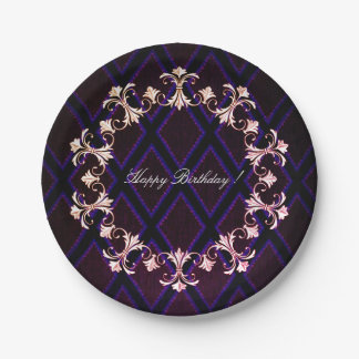 Happy-Birthday-French-Elegance-Wreath-Harlequin Paper Plate