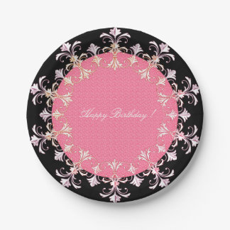 Happy-Birthday-French-Elegance-Wreath-Pink-Black Paper Plate