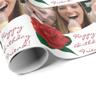 Happy Birthday friend text photo Wrapping Paper