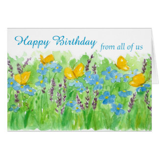 Happy Birthday From All Of Us Watercolor Flowers Card