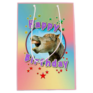 Happy Birthday from the laughing horse Medium Gift Bag