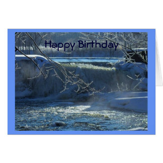 Happy Birthday Frosty Waterfall Card