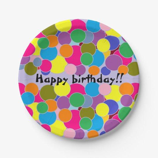 Happy birthday Fun Colourful Circles Design 7 Inch Paper Plate