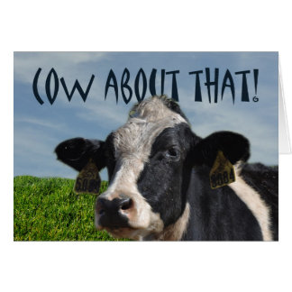 Happy Birthday Funny Dairy Cow and Pasture Greeting Card
