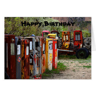Happy Birthday Gas Pumps, Race Car Humor Card