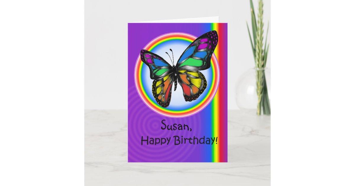 Happy Birthday Gay Lesbian Rainbow Butterfly Card Zazzle Ca