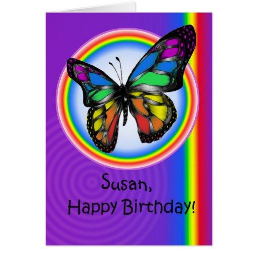 Happy Birthday Gay Lesbian Rainbow Butterfly Card