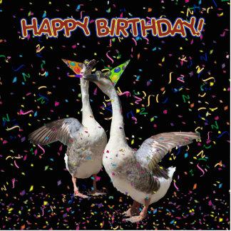 Happy Birthday Geese Standing Photo Sculpture