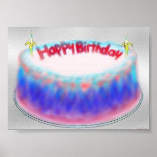 Happy birthday gelatin mountain cake print
