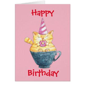 Happy Birthday Ginger Cat Card