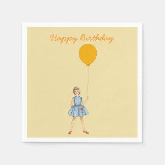 Happy birthday, girl, balloon, yellow background napkin