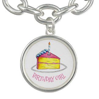 Happy Birthday Girl Pink Yellow Cake Slice Candle Charm Bracelet