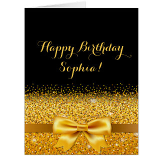 Happy Birthday gold bow with sparkle on black Card