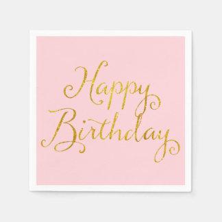 Happy Birthday Gold Faux Glitter Metallic Sequins Paper Napkins