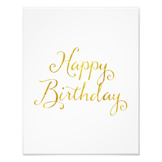 Happy Birthday Gold Faux Glitter Metallic Sequins Photo Print