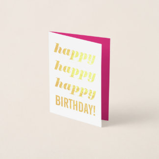 Happy Birthday Gold Foil Card Invitation Pink