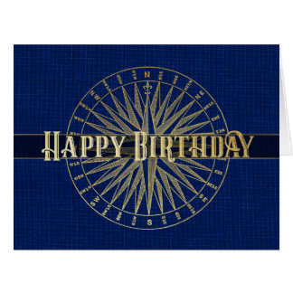 Happy Birthday Golden Compass Design Card