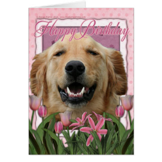 Happy Birthday - Golden Retriever - Mickey Card
