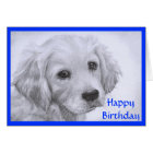 Happy Birthday Golden Retriever Puppy   Card