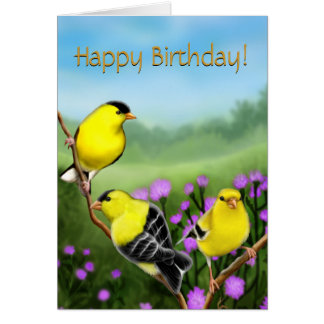 Happy Birthday Goldfinches Customizable Card