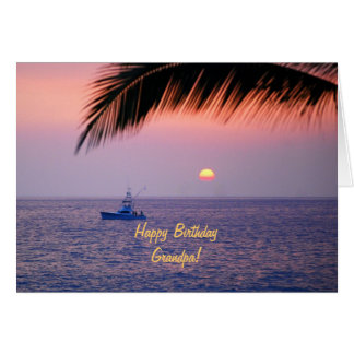 Happy Birthday Grandpa Tropical Sunset Card