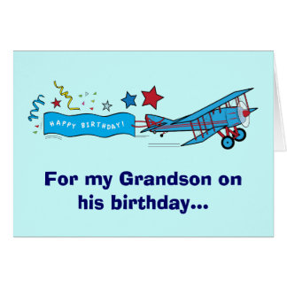 Happy Birthday Grandson Airplane Card