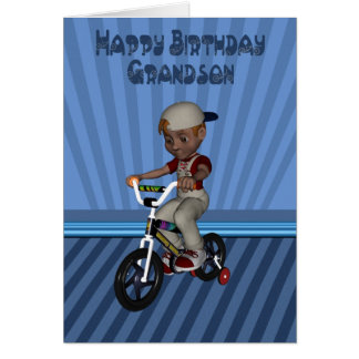 Happy Birthday Grandson, Boy on a bicycle Card