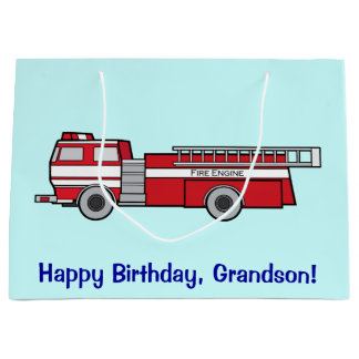 Happy Birthday Grandson with Fire Engine Large Gift Bag