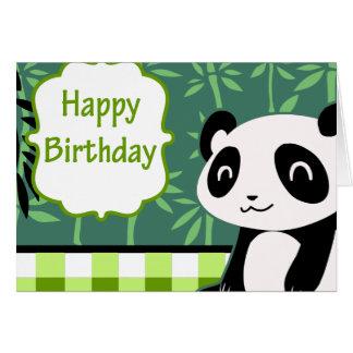 Happy Birthday Green Bamboo Panda Card