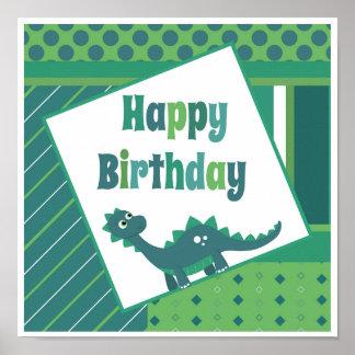 Happy birthday green/ blue dinosaur poster. poster
