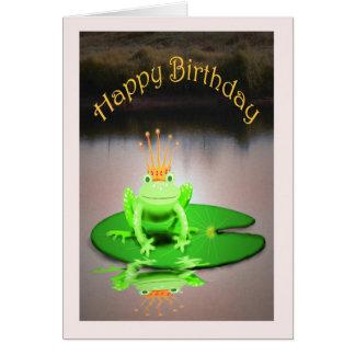 Happy Birthday, green frog wearing crown, humor Card