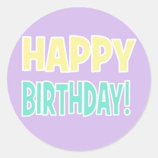 """""""HAPPY BIRTHDAY!"""" Green/Purple/Yellow Pastel Round Sticker"""