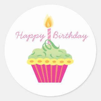 Happy Birthday Green Yellow and Pink Cupcake Classic Round Sticker