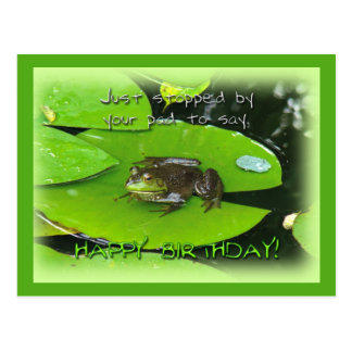 Happy Birthday Greeting - Bullfrog on Lily Pad Postcard